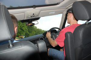 Greg driving a land rover at 45 degrees