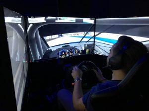 Hayden in the simulator pod